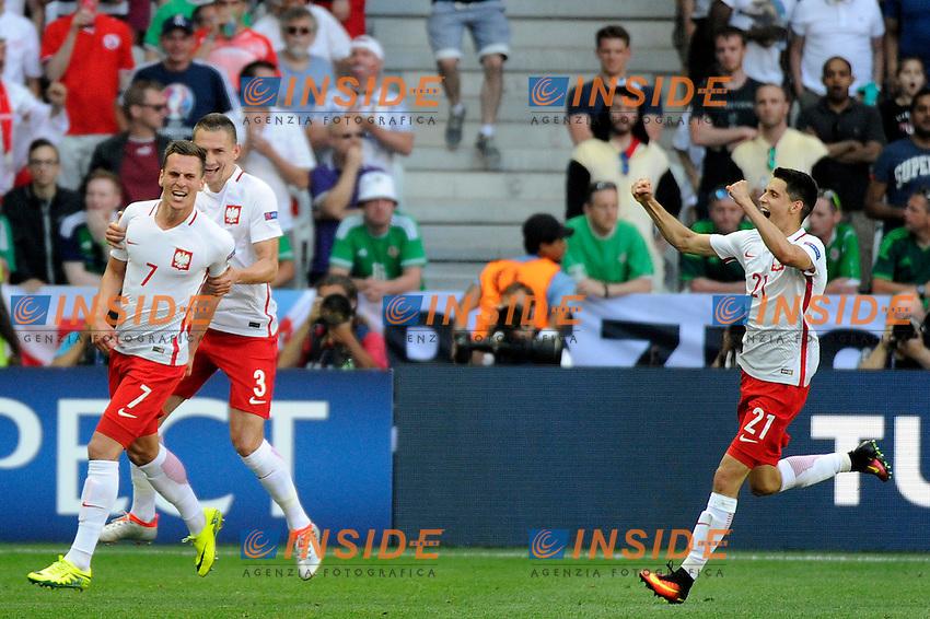 Celebration Goal Arkadiusz Milik Poland. Esultanza Gol <br /> Nice 12-06-2016 Stade de Nice Football Euro2016 Poland - Northern Ireland / Polonia - Irlanda del Nord Group Stage Group C. Foto Pennant / Panoramic / Insidefoto