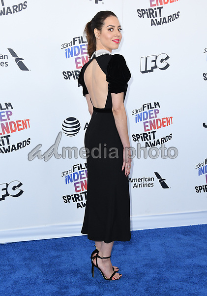 03 March 2018 - Santa Monica, California - Aubrey Plaza. 2018 Film Independent Spirit Awards -Arrivals, held at the Santa Monica Pier. Photo Credit: Birdie Thompson/AdMedia