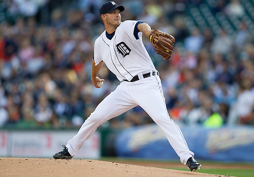 May 16, 2012:  Detroit Tigers pitcher Rick Porcello (48) delivers pitch during the first inning in MLB game action between the Minnesota Twins and the Detroit Tigers at Comerica Park in Detroit, Michigan.  The Twins defeated the Tigers 11-7.