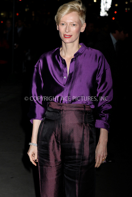 WWW.ACEPIXS.COM . . . . .  ....January 10 2012, New York City....Actress Tilda Swinton arriving at the 2011 National Board of Review Awards gala at Cipriani 42nd Street on January 10, 2012 in New York City.....Please byline: NANCY RIVERA- ACE PICTURES.... *** ***..Ace Pictures, Inc:  ..tel: (212) 243 8787 or (646) 769 0430..e-mail: info@acepixs.com..web: http://www.acepixs.com