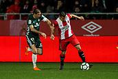 13th April 2018, Estadi Montilivi, Girona, Spain; La Liga football, Girona versus Real Betis; Joaquin of Betis pulls back Alex Granell of Girona