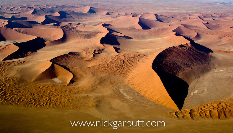 Sossusvlei Dunes from the air. Namib Naukluft Park, Namibia.