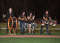 Drumline performs. The Occidental College football team plays for a 21-14 win over Claremont-Mudd-Scripps on Homecoming Night at Jack Kemp Stadium on Saturday Oct. 25, 2014.<br />