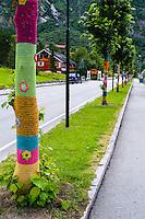 Norway, Hardanger, Eidfjord. Knitted trees.