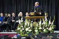 Spring Graduation in Humphrey Coliseum - first commencement ceremony for the College of Education and the College of Business.  President Keenum.<br />  (photo by Megan Bean / &copy; Mississippi State University)