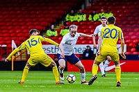 Everton's midfielder Tom Davies (4) for England U21's  challenges Dynamo Kyiv's midfielder Volodymyr Shepeliev (15) for Ukraine U21's during the International Euro U21 Qualification match between England U21 and Ukraine U21 at Bramall Lane, Sheffield, England on 27 March 2018. Photo by Stephen Buckley / PRiME Media Images.