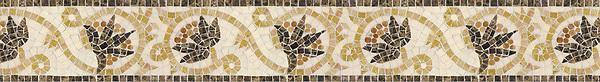 "5 1/2"" Bella border, a hand-cut stone mosaic, shown in polished Rosa Verona, Giallo Reale, Emperador dark, Ivory Cream."