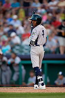 Vermont Lake Monsters center fielder Jeramiah McCray (4) at bat during a game against the Tri-City ValleyCats on June 16, 2018 at Joseph L. Bruno Stadium in Troy, New York.  Vermont defeated Tri-City 6-2.  (Mike Janes/Four Seam Images)