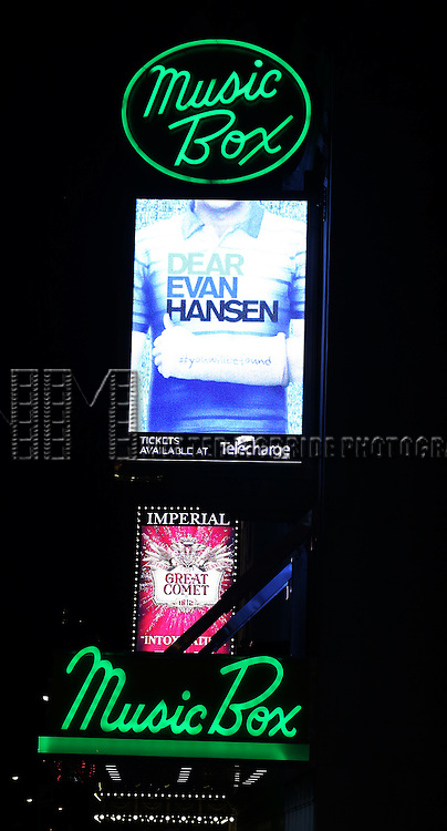 Theatre Marquee for the Broadway Opening Night Performance Curtain Call for 'Dear Evan Hansen'  at The Music Box Theatre on December 3, 2016 in New York City.