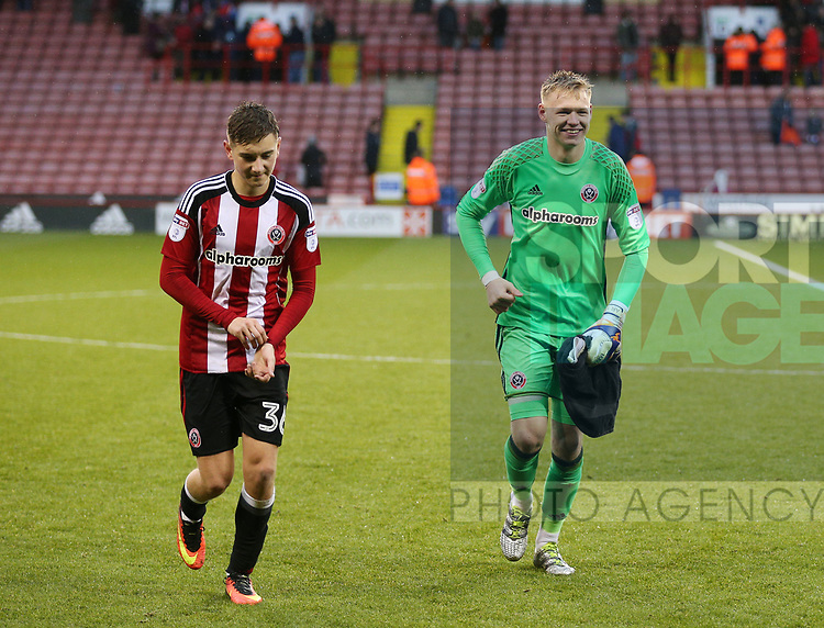 David Brooks and Aaron Ramsdale of Sheffield Utd during the Emirates FA Cup Round One match at Bramall Lane Stadium, Sheffield. Picture date: November 6th, 2016. Pic Simon Bellis/Sportimage