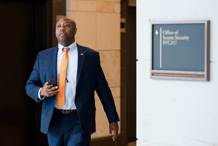 UNITED STATES - JULY 31: Sen. Tim Scott, R-S.C., leaves a closed meeting in the Capitol on Russia sanctions on Tuesday, July 31, 2018. (Photo By Bill Clark/CQ Roll Call)