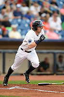 Lake County Captains outfielder Clint Frazier (20) runs to first on a triple during a game against the Fort Wayne TinCaps on August 21, 2014 at Classic Park in Eastlake, Ohio.  Lake County defeated Fort Wayne 7-8.  (Mike Janes/Four Seam Images)