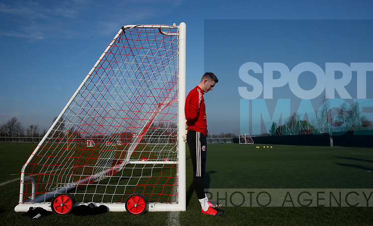 Dean Henderson of Sheffield Utd during the Press Conference & Training at the Steelphalt Academy, Sheffield. Picture date: 7th February 2020. Picture credit should read: Simon Bellis/Sportimage