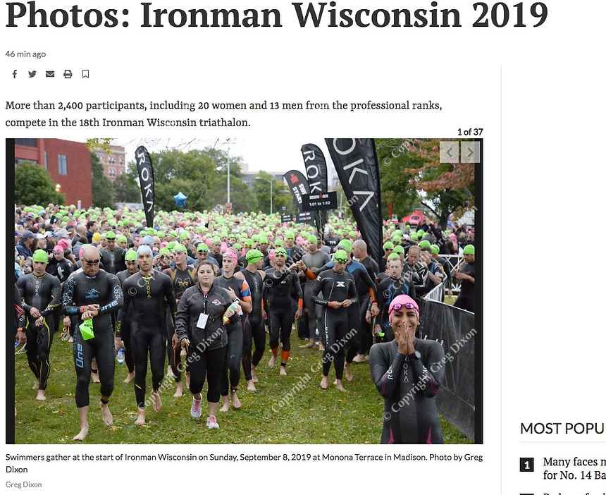 Swimmers gather at the start of IRONMAN Wisconsin on Sunday, 9/8/19 at Monona Terrace in Madison | Wisconsin State Journal article front page Sports 9/9/18 at online at https://madison.com/wsj/sports/emilio-aguayo-mu-oz-linsey-corbin-win-pro-races-at/article_fabba418-ffcb-546e-bb41-13587e98cd37.html