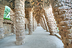 Europe, Spain, Catalonia, Barcelona, Park Guell Colonnaded Footpath