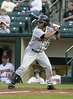 May 14, 2004:  Luis Figueroa of the Indianapolis Indians, Triple-A International League affiliate of the Milwaukee Brewers, during a game at Frontier Field in Rochester, NY.  Photo by:  Mike Janes/Four Seam Images