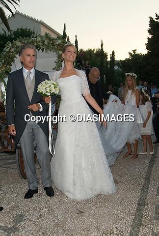 "PRINCE NIKOLAOS AND TATIANA BLATNIK WEDDING_Bride Arrives WIth Stepfather.St Nikolaos Church, Spetses, Greece_25/08/2010.Mandatory Credit Photo: ©DIASIMAGES..**ALL FEES PAYABLE TO: ""NEWSPIX INTERNATIONAL""**..IMMEDIATE CONFIRMATION OF USAGE REQUIRED:.Newspix International, 31 Chinnery Hill, Bishop's Stortford, ENGLAND CM23 3PS.Tel:+441279 324672  ; Fax: +441279656877.Mobile:  07775681153.e-mail: info@newspixinternational.co.uk"