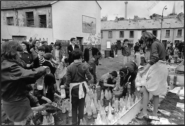Molotov cocktails are prepared after days of riots between Catholics and the Ulster police, Londonderry, Northern Ireland, August 1969