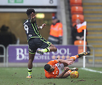 Blackpool's Colin Daniel in action with Bristol Rovers' Ellis Harrison<br /> <br /> Photographer Mick Walker/CameraSport<br /> <br /> The EFL Sky Bet League One - Blackpool v Bristol Rovers - Saturday 13th January 2018 - Bloomfield Road - Blackpool<br /> <br /> World Copyright &copy; 2018 CameraSport. All rights reserved. 43 Linden Ave. Countesthorpe. Leicester. England. LE8 5PG - Tel: +44 (0) 116 277 4147 - admin@camerasport.com - www.camerasport.com