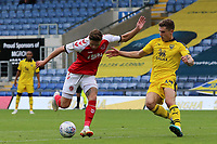 Fleetwood Town's Wes Burns tries to get away from Oxford United's Josh Ruffels<br /> <br /> Photographer David Shipman/CameraSport<br /> <br /> The EFL Sky Bet League One - Oxford United v Fleetwood Town - Saturday August 11th 2018 - Kassam Stadium - Oxford<br /> <br /> World Copyright &copy; 2018 CameraSport. All rights reserved. 43 Linden Ave. Countesthorpe. Leicester. England. LE8 5PG - Tel: +44 (0) 116 277 4147 - admin@camerasport.com - www.camerasport.com
