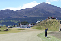 Friday 29th May 2015; Bernd Wiesberger, Austria, play his approach into the 9th green<br /> <br /> Dubai Duty Free Irish Open Golf Championship 2015, Round 2 County Down Golf Club, Co. Down. Picture credit: John Dickson / SPORTSFILE