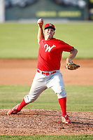 August 2, 2009:  Pitcher Justin Long of the Williamsport Crosscutters delivers a pitch during a game at Dwyer Stadium in Batavia, NY.  Williamsport is the Short-Season Class-A affiliate of the Philadelphia Phillies.  Photo By Mike Janes/Four Seam Images