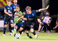 10th July 2020, Orlando, Florida, USA;  San Jose Earthquakes midfielder Jackson Yueill (14) defends the shot During the MLS Is Back Tournament between the Seattle Sounders v San Jose Earthquakes on July 10, 2020 at the ESPN Wide World of Sports, Lake Buena Vista FL.