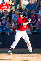 Kellin Deglan (6) of the Hickory Crawdads at bat against the Charleston RiverDogs at L.P. Frans Stadium on May 24, 2014 in Hickory, North Carolina.  The Crawdads defeated the RiverDogs 7-3.  (Brian Westerholt/Four Seam Images)