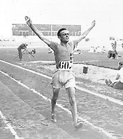 August-September 1920, Olympic Stadium, Antwerp, Belgium;  1920 Summer Olympic Games; Italian Ugo Frigerio 10,000 metres walk; A total of 29 nations participated in the Antwerp Games, only one more than in 1912, as Germany, Austria, Hungary, Bulgaria and Ottoman Empire were not invited, having lost World War I.