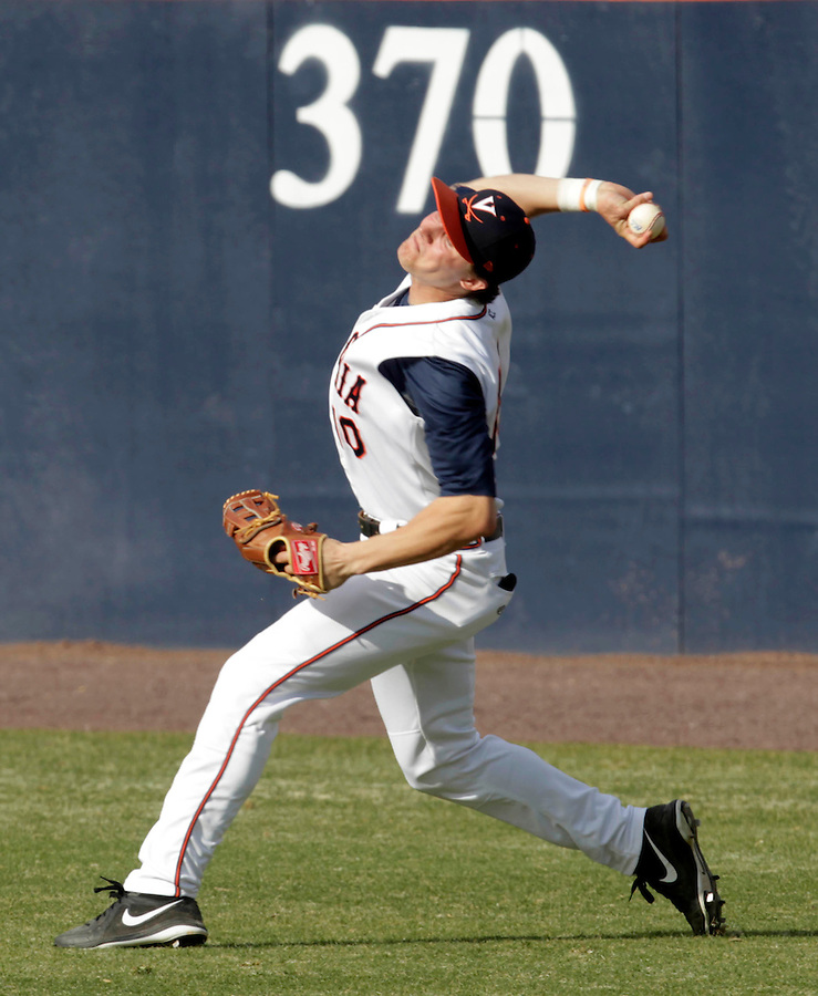 Virginia outfielder Brandon Downes (10) throws the ball to second base during the game against James Madison University Tuesday in Charlottesville, VA.  Photo/The Daily Progress/Andrew Shurtleff