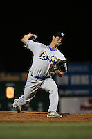Mitchell White (13) of the Rancho Cucamonga Quakes pitches against the Lancaster JetHawks at The Hanger on September 1, 2016 in Lancaster, California. Rancho Cucamonga defeated Lancaster, 6-3. (Larry Goren/Four Seam Images)