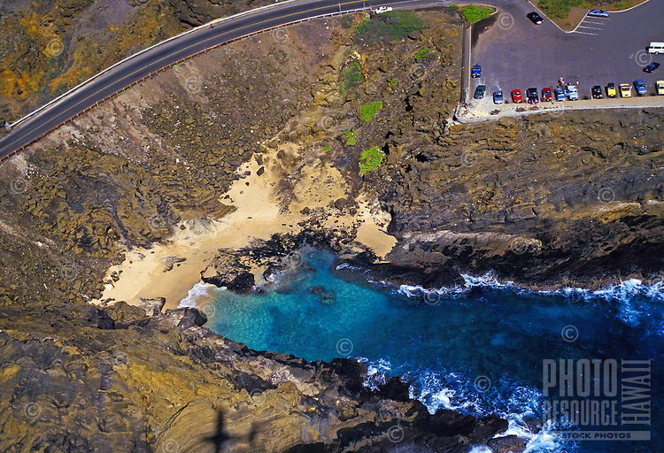 "Aerial view of Halona cover, where the film """"from here to eternity"""" was filmed along the ka iwi coastline"