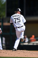 Detroit Tigers pitcher Joe Mantiply (75) during a Spring Training game against the Miami Marlins on March 25, 2015 at Joker Marchant Stadium in Lakeland, Florida.  Detroit defeated Miami 8-4.  (Mike Janes/Four Seam Images)