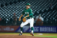Miami Hurricanes relief pitcher Evan McKendry (32) in action against the North Carolina Tar Heels in the second semifinal of the 2017 ACC Baseball Championship at Louisville Slugger Field on May 27, 2017 in Louisville, Kentucky. The Tar Heels defeated the Hurricanes 12-4. (Brian Westerholt/Four Seam Images)