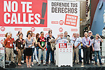 Expression of the Spanish trade unions against cuts and closures of public services.Spanish trade union leaders of sections of public services listen to the intervention of Ignacio Fernandez Toxo, Secretary General of CC.OO Spain during the union rally after demonstration..(Alterphotos/Ricky)