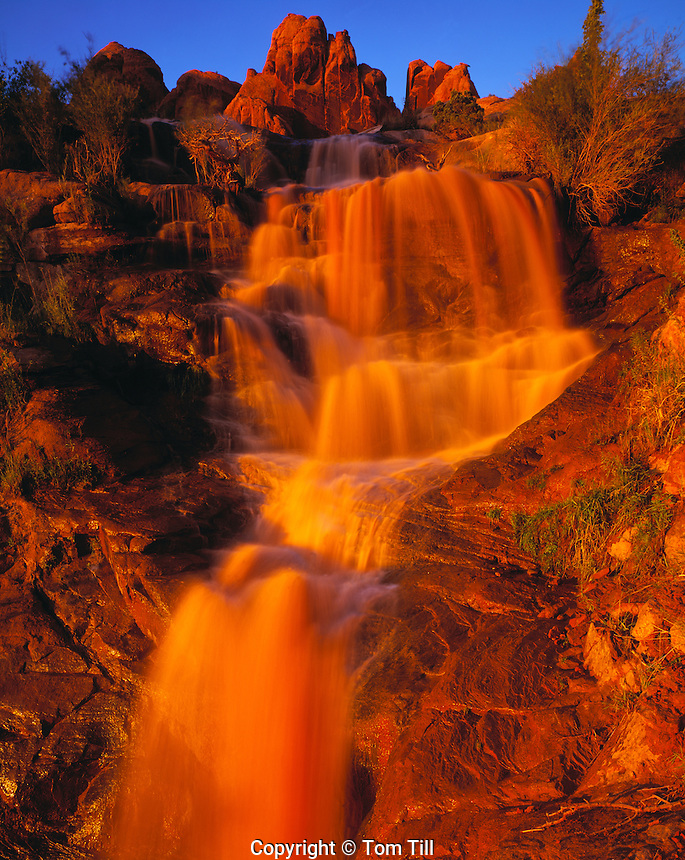 Flashflood Waterfall, Flat Pass, Utah    Runoff from heavy spring thunderstorms