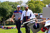 Vice Captain Tiger Woods and Dustin Johnson US Team walk to the 12th tee during Thursday's Practice Day of the 41st RyderCup held at Hazeltine National Golf Club, Chaska, Minnesota, USA. 29th September 2016.<br /> Picture: Eoin Clarke | Golffile<br /> <br /> <br /> All photos usage must carry mandatory copyright credit (&copy; Golffile | Eoin Clarke)