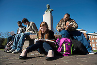Studying on Drill Field at Stephen D. Lee statue.  L-R: Justin Major, Jude Kitaif, Ellen Haapoja, Jimel Haynes.<br />