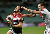 4th November 2017, Sydney Football Stadium, Sydney, Australia; Rugby League World Cup, England versus Lebanon; Mitchell Moses of Lebanon tries to out run John Bateman of England