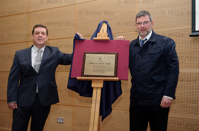 Scotland manager Craig Levein opens the new Stewarton Sports Centre in Ayrshire with Cllr Douglas Reid