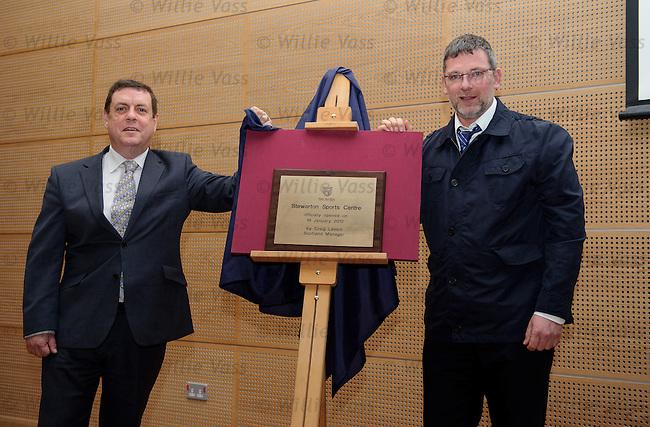 Scotland manager Craig Levein opens the new Stewarton Sports Centre in Ayrshire with Cllr Douglas Reid
