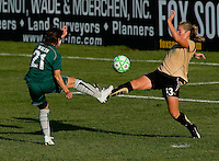 Saint Louis Athletica forward Sarah Walsh (21) and FC Gold Pride midfielder/forward Kristen Graczyk (13) during a WPS match at Anheuser-Busch Soccer Park, in St. Louis, MO, July 26, 2009.  The match ended in a 1-1 tie.