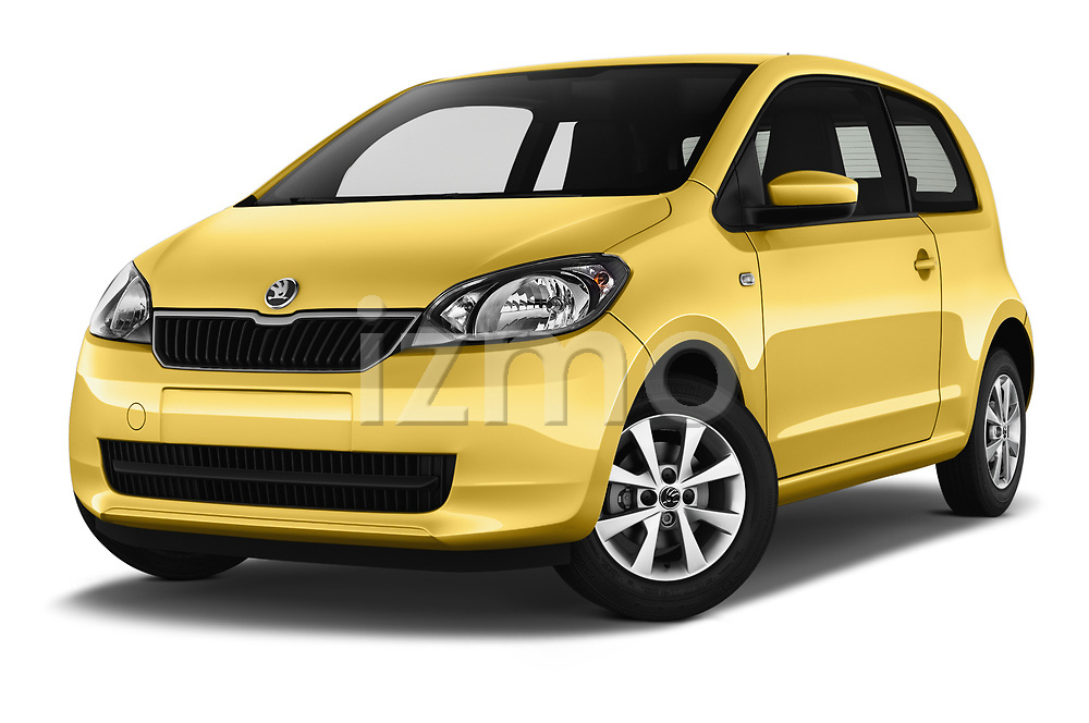 Stock pictures of low aggressive front three quarter view of 2016 Skoda Citigo Ambition 3 Door hatchback Low Aggressive
