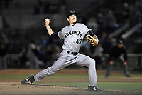 Pitcher John Russell (49) of the Augusta GreenJackets delivers a pitch delivers a pitch in a game against the Columbia Fireflies on Friday, April 6, 2018, at Spirit Communications Park in Columbia, South Carolina. Columbia won, 7-2. (Tom Priddy/Four Seam Images)