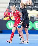 LONDON -  Unibet Eurohockey Championships 2015 in  London. Belgium v Italy (4-3).  Jill Boon of Belgium gets injured .WSP Copyright  KOEN SUYK