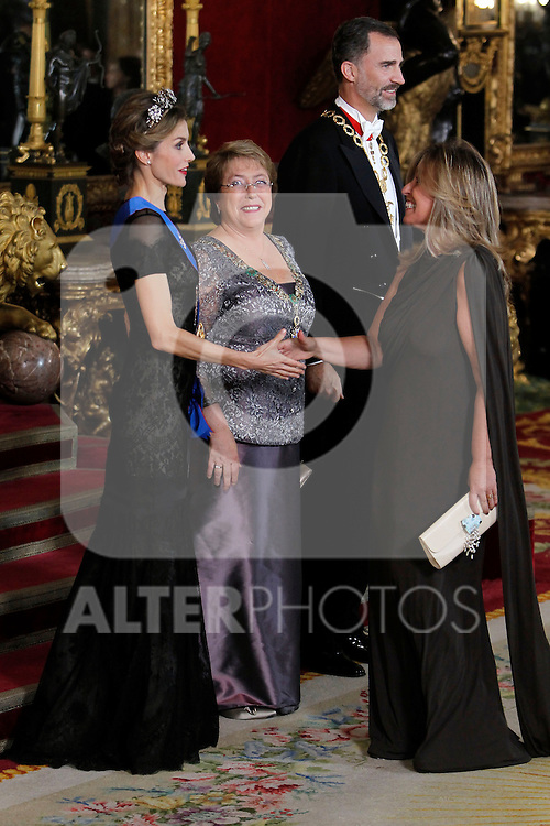 Spanish Royals attend a Gala Dinner in honour of President of Chile Michelle Bachelet at The Royal Palace in Madrid. In the pic Queen Letizia speaks whit Trinidad Jimenez. October 29, 2014. (Jose Luis Cuesta/POOL/ALTERPHOTOS)