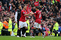 Pictured: (L-R) Ryan Giggs, Javier Hernandez.<br /> Sunday 12 May 2013<br /> Re: Barclay's Premier League, Manchester City FC v Swansea City FC at the Old Trafford Stadium, Manchester.