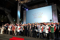 "Chefs and guests shout the slogan ""Let's Shokuiku"" at the opening ceremony of Tokyo Taste, The World Summit of Gastronomy 2009. 9 February 2009,Tokyo, Japan.Many of the world's top chefs are assembled for the sold-out 3 day event in the center of Tokyo."