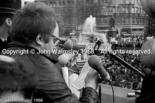 The speakers, anti-Vietnam war demonstration march from Trafalgar Sq to Grosvenor Sq Sunday 17th March 1968.