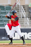 Tyler Saladino #1 of the Kannapolis Intimidators at bat against the Hickory Crawdads at Fieldcrest Cannon Stadium August 18, 2010, in Kannapolis, North Carolina.  Photo by Brian Westerholt / Four Seam Images